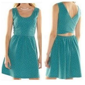 LC Lauren Conrad Teal Polka Dot Cross Back Dress